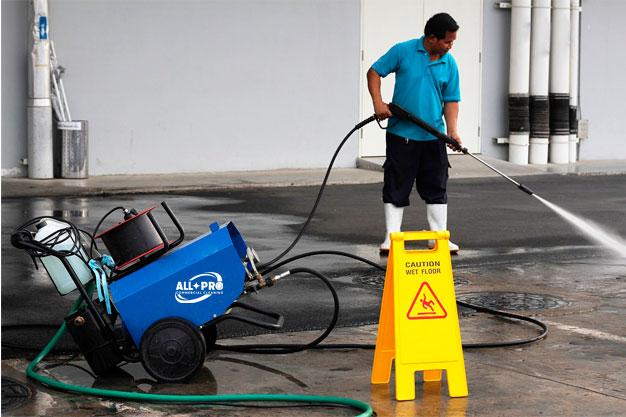 Pressure washing floor